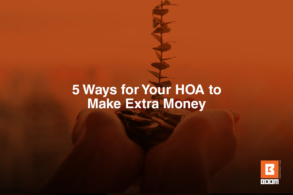 5 Ways for Your HOA to Make Extra Money - holding money in hands, coins, with a sprout