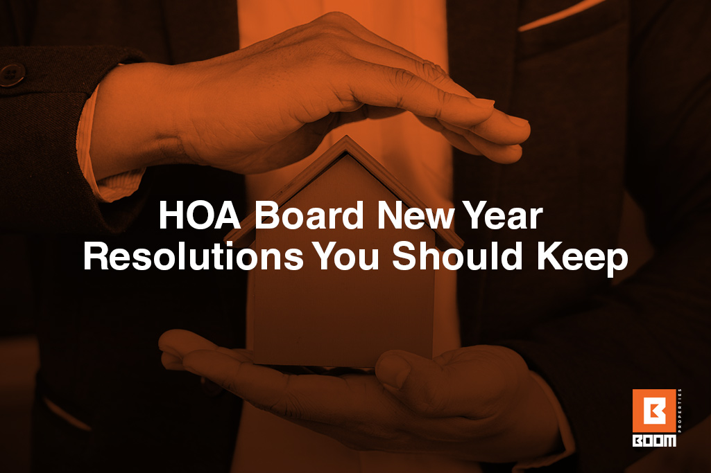 HOA Board New Year Resolutions You Should Keep - the image shows two hands holding a model of a house